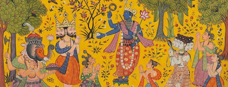 Detail from an illustration to a Ragmala series: Shankara Ragaputra of Megha Raga, sub-imperial Mughal, North India, c. 1610-20.